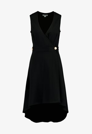 HEAVY BUTTON SLEEVELESS WRAP MIDI DRESS - Vestito di maglina - black