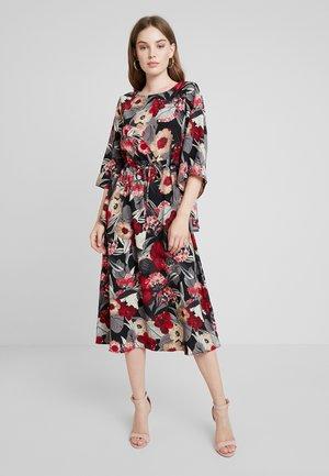 FLORAL KIMONO SLEEVE DRESS - Robe longue - black