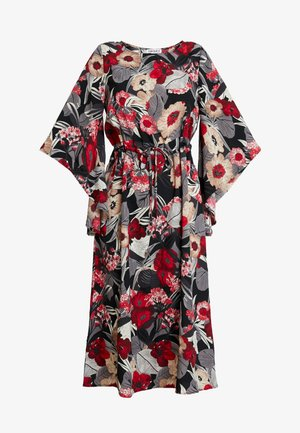 FLORAL KIMONO SLEEVE DRESS - Robe longue - black