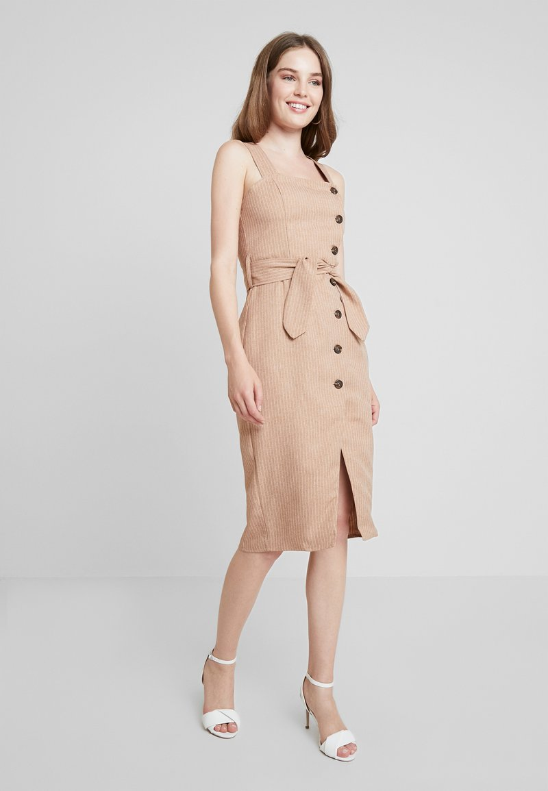 UNIQUE 21 - BUTTON FRONT MIDI DRESS - Abito a camicia - camel