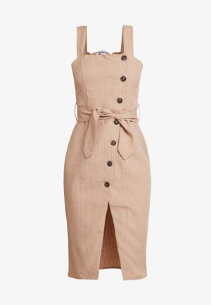 BUTTON FRONT MIDI DRESS - Vestido camisero - camel