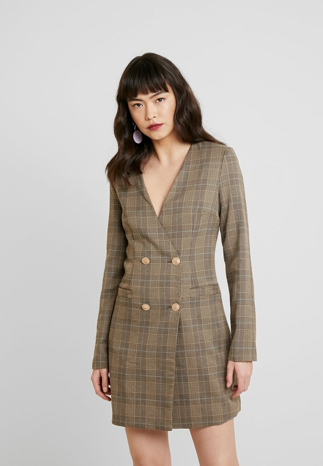 TAILORED IN CHECK - Shirt dress - tan