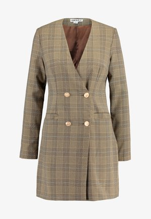 TAILORED IN CHECK - Vestido camisero - tan