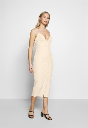 PREMIUM BUTTONED BODYCON MIDI DRESS - Sukienka letnia - cream