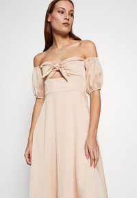 UNIQUE 21 - CHECK TIE FRONT BARDOT MIDI DRESS - Day dress - beige