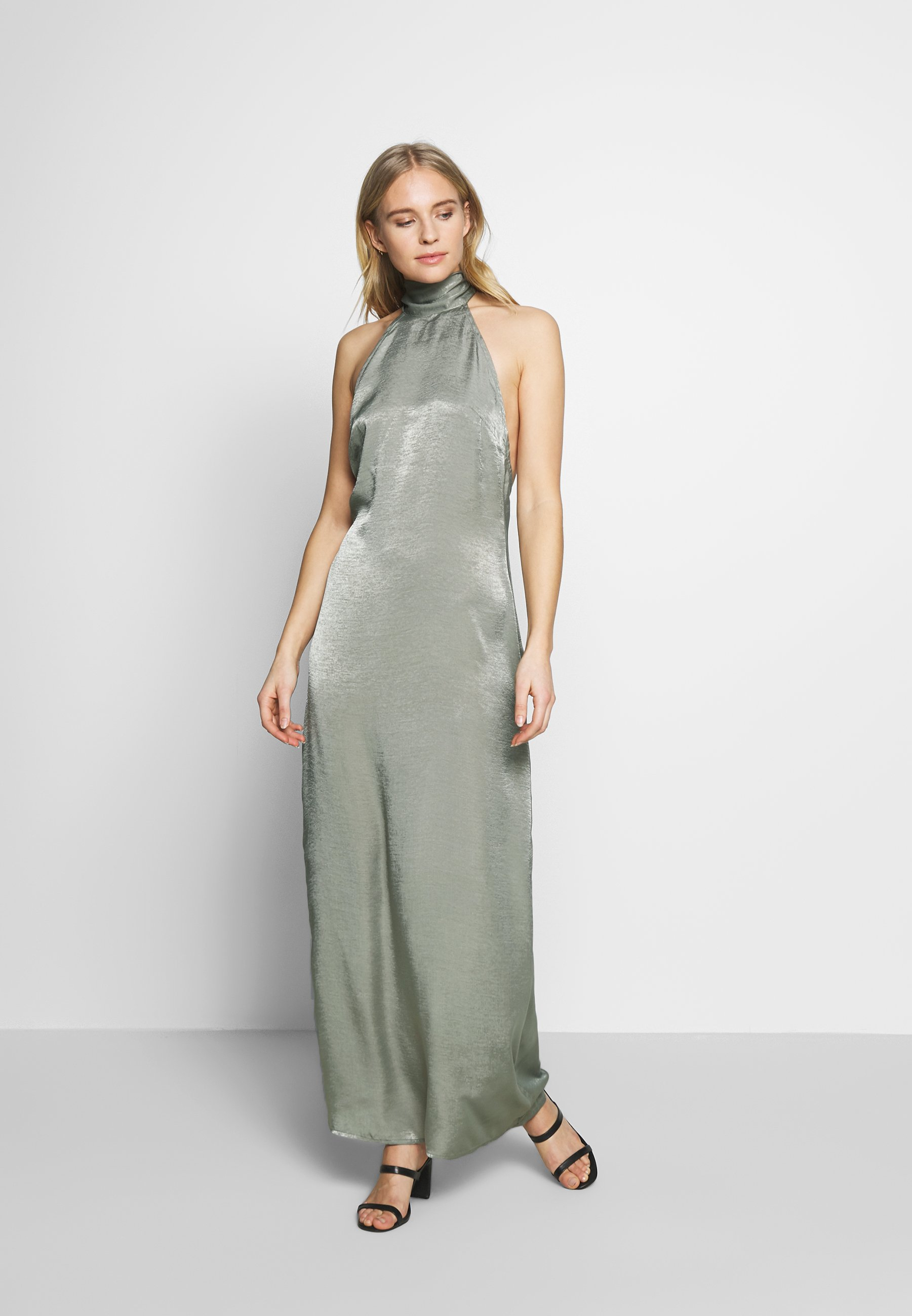 Unique 21 Halterneck Open Back Dress - Festklänning Green