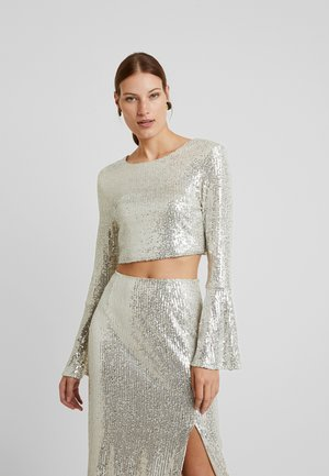 LONG SLEEVE SEQUIN - Blusa - brushed silver