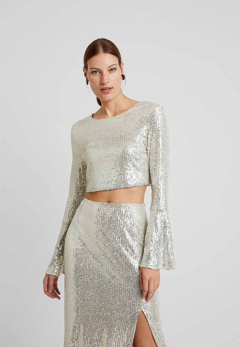 UNIQUE 21 - LONG SLEEVE SEQUIN - Blusa - brushed silver