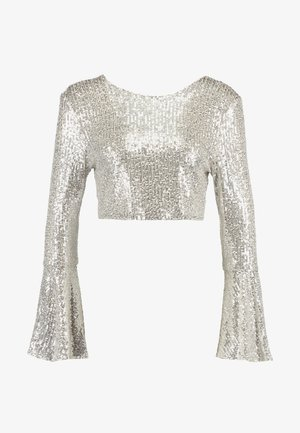 LONG SLEEVE SEQUIN - Bluse - brushed silver