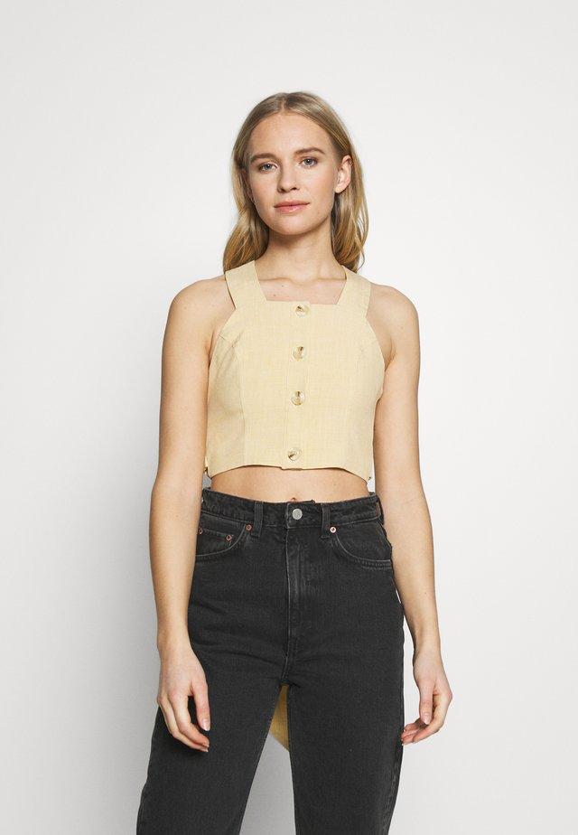 SQUARE NECK TIE - Bluse - beige