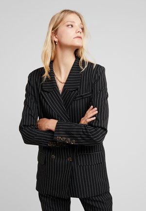 PINSTRIPE DOUBLE BREASTED - Blazer - black