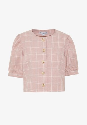 CHECK PUFF SLEEVE FITTED JACKET - Summer jacket - pink