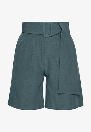 PEACOCK BELTED HIGH WAIST - Shorts - green