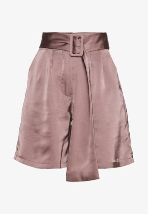 HIGH WAIST BELTED - Shorts - mocha