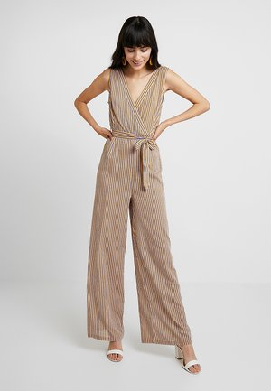 STRIPE WIDE LEG WITH BELT - Kombinezon - yellow