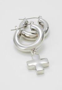 Uncommon Souls - CROSS HOOP DROP EARINGS - Earrings - silver-coloured - 4