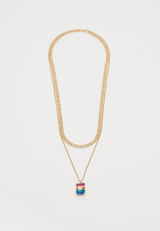 RAINBOW STONE 2 ROW NECKLACE - Necklace - gold-coloured