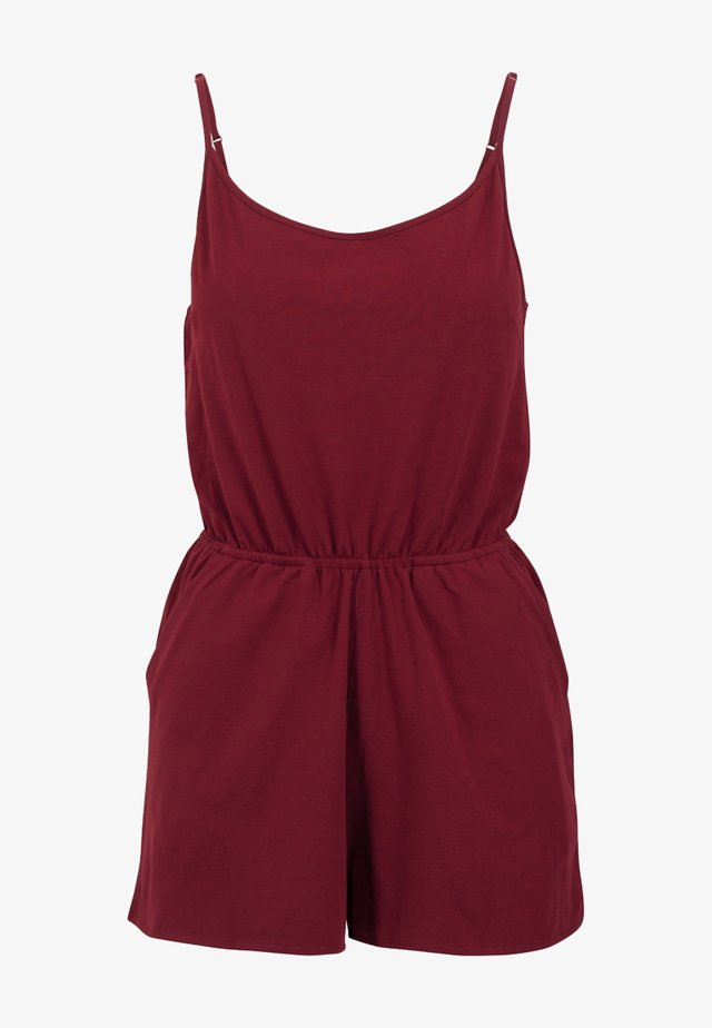 LADIES SHORT SPAGHETTI - Jumpsuit - burgundy