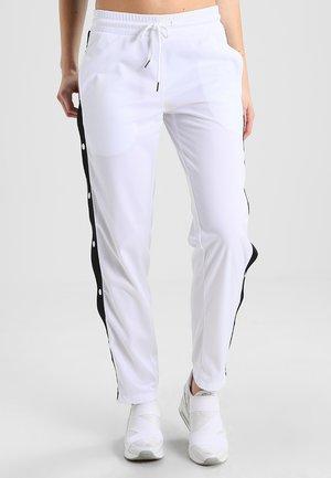LADIES BUTTON UP TRACK PANTS - Pantalon de survêtement - white/black