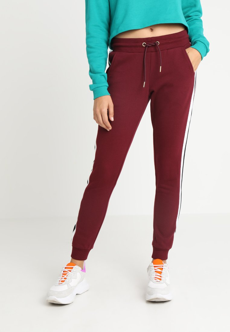 Urban Classics - LADIES COLLEGE CONTRAST - Jogginghose - port/white/black