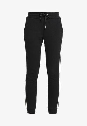 LADIES COLLEGE CONTRAST - Tracksuit bottoms - black/white/black