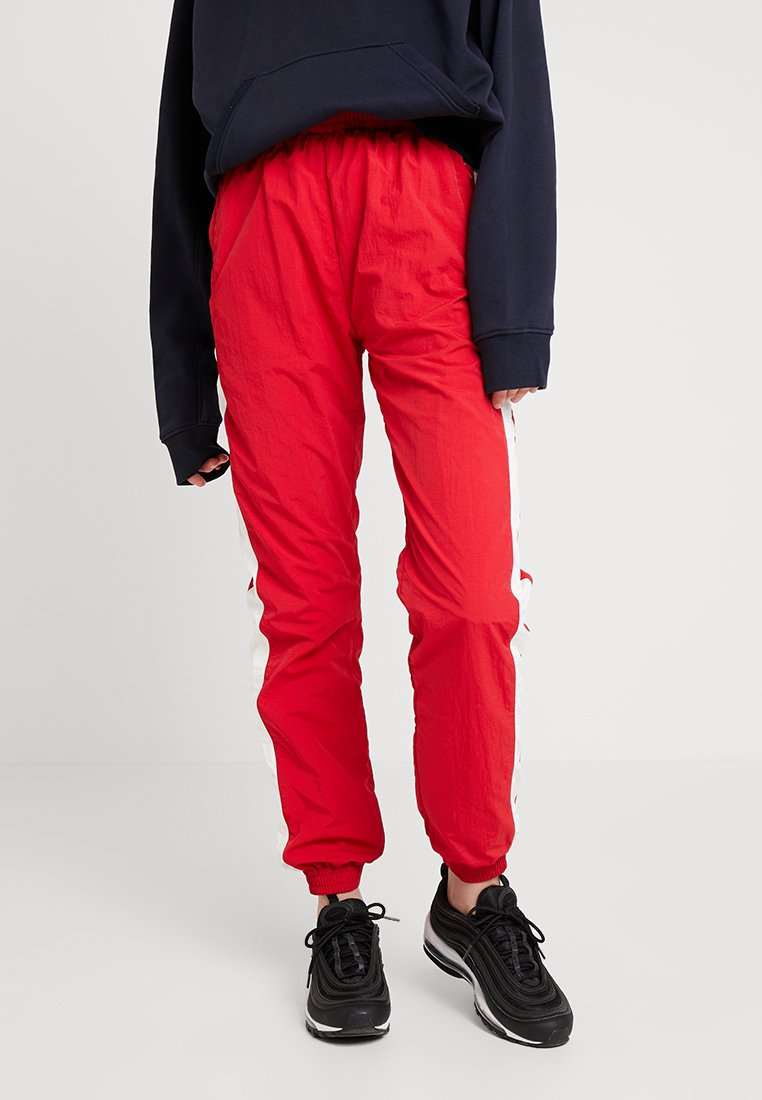 Urban Classics - LADIES STRIPED CRINKLE PANTS - Tracksuit bottoms - red/white