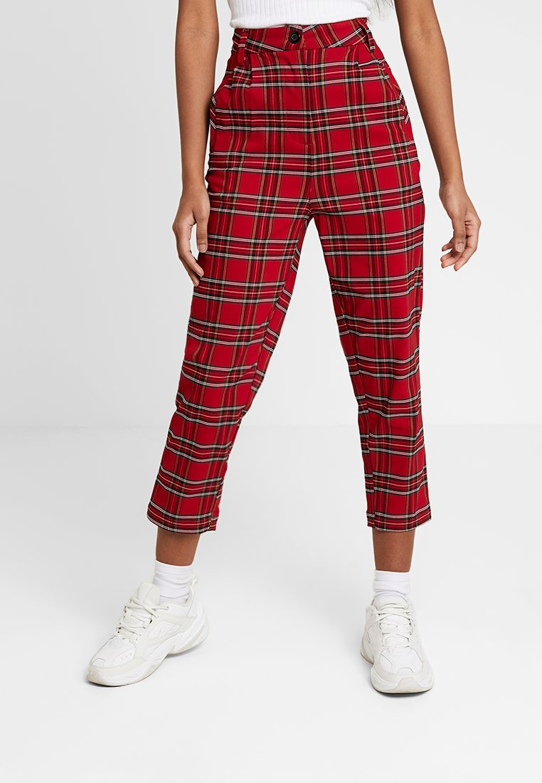 Urban Classics - LADIES HIGHWAIST CHECKER CROPPED PANTS - Trousers - red/black