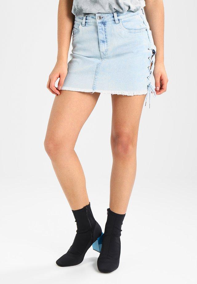 LACE UP SKIRT - Denim skirt - blue bleached