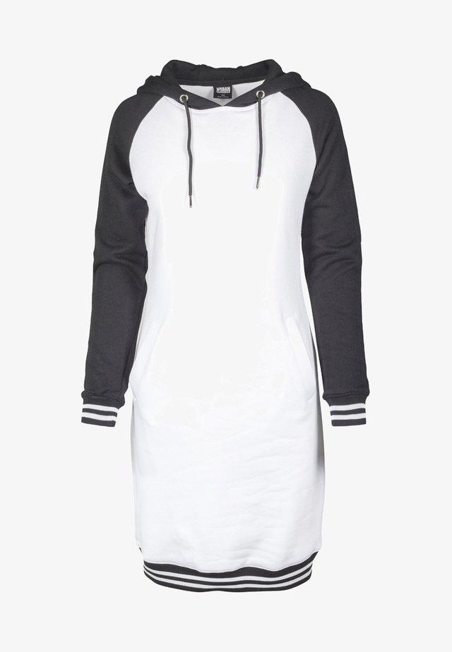 LADIES CONTRAST COLLEGE HOODED DRESS - Korte jurk - white/black