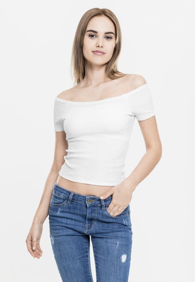 LADIES OFF SHOULDER - Print T-shirt - white