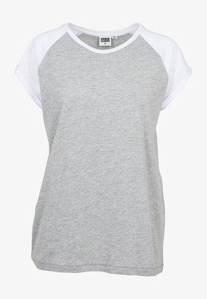CONTRAST RAGLAN TEE - T-shirt imprimé - grey/white