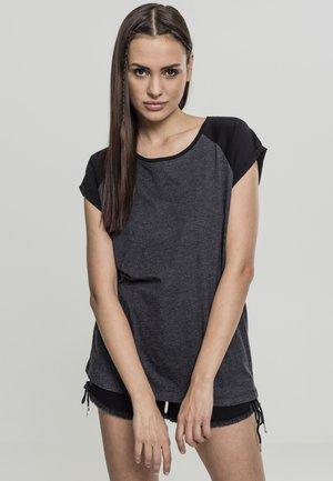 CONTRAST RAGLAN TEE - Print T-shirt - charcoal/black