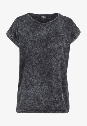 LADIES RANDOM WASH EXTENDED SHOULDER TEE - T-shirt print - black