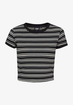 LADIES RIB SHORT TEE - T-shirt basic - black/white