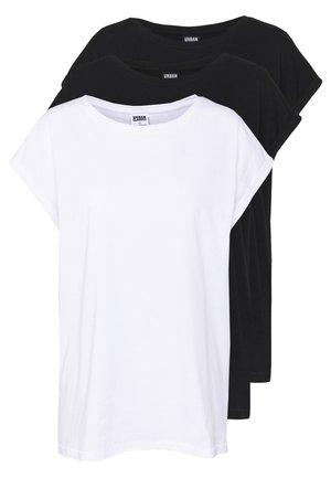 LADIES EXTENDED SHOULDER TEE 3 PACK - T-shirt basic - black/white