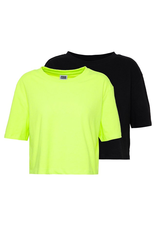 LADIES SHORT OVERSIZED NEON TEE 2 PACK - T-shirts basic - electriclime/black