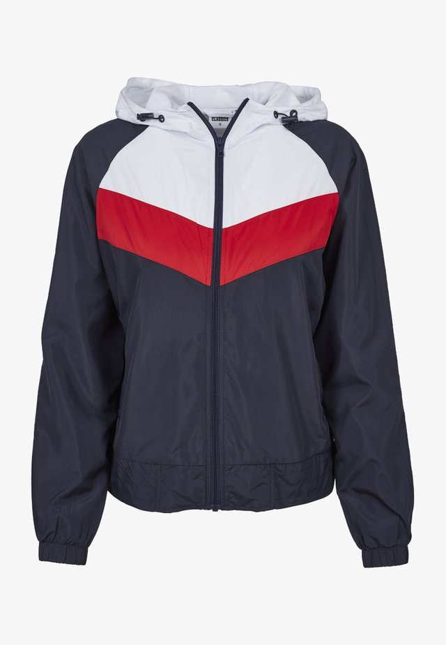 THREE TONE - Windbreaker - navy/white/fire red