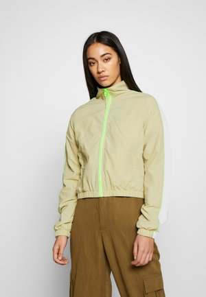 LADIES PIPED TRACK JACKET - Summer jacket - concrete/electriclime