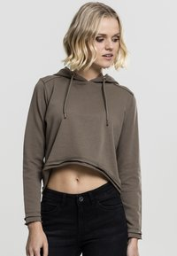 Urban Classics - CROPPED TERRY HOODY - Mikina skapucí - army green - 2