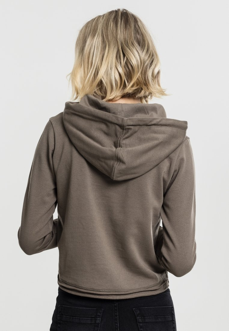 Urban Classics - CROPPED TERRY HOODY - Mikina skapucí - army green
