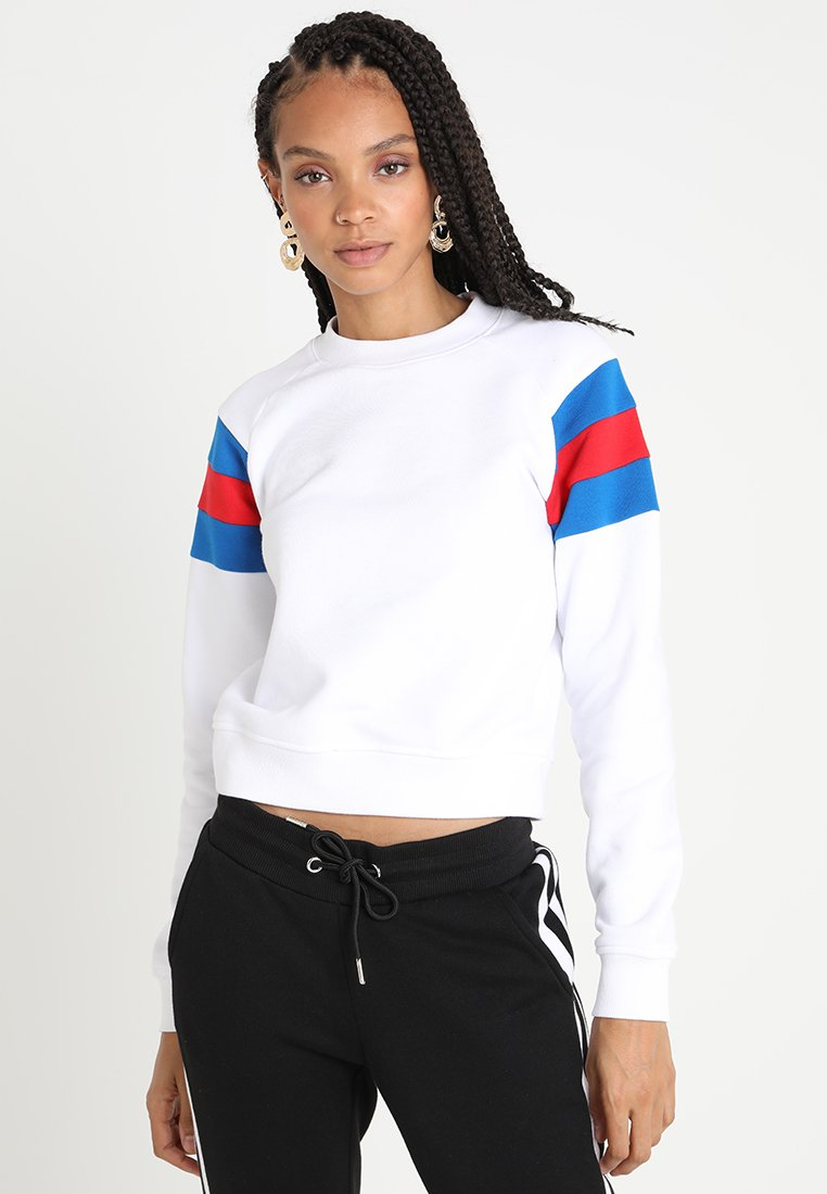 Urban Classics - LADIES SLEEVE CREW - Sweatshirt - white/brightblue/firered