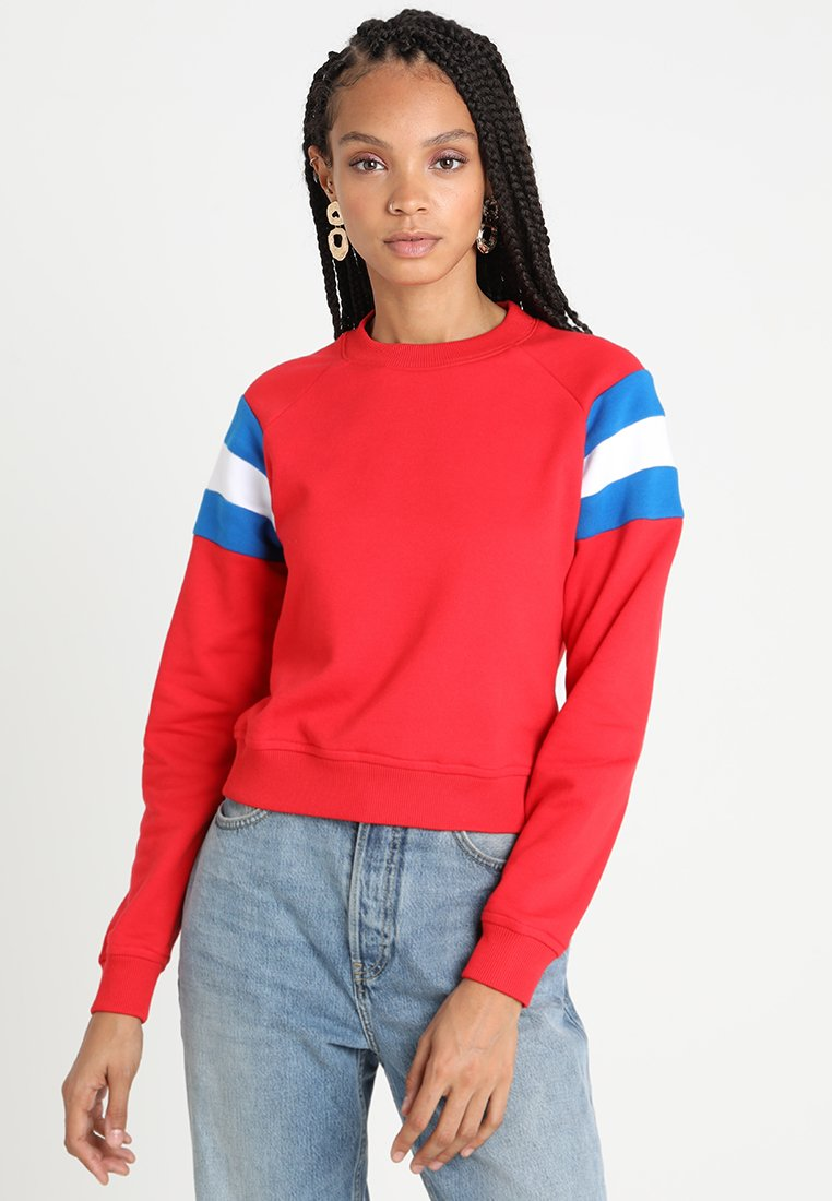 Urban Classics - LADIES SLEEVE CREW - Sweatshirt - firered/brightblue/white