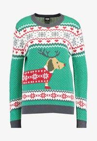 Urban Classics - SAUSAGE DOG CHRISTMAS - Jumper - teagreen/white/red/darkgrey - 4