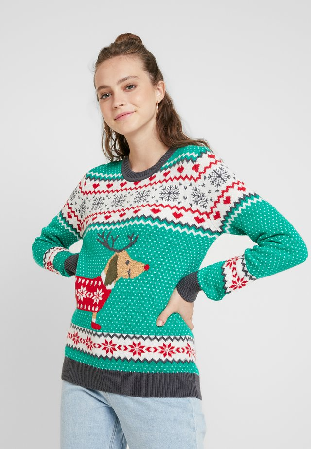 SAUSAGE DOG CHRISTMAS - Jersey de punto - teagreen/white/red/darkgrey