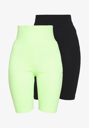 LADIES HIGH WAIST CYCLE 2 PACK - Short - electriclime/ black