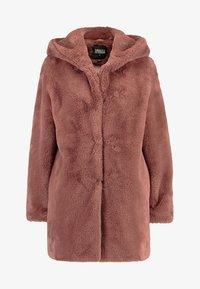 Urban Classics - LADIES HOODED TEDDY COAT - Winter coat - darkrose - 4