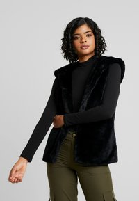 Urban Classics - LADIES HOODED VEST - Waistcoat - black - 0