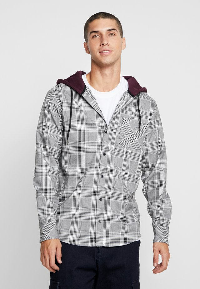 HOODED GLENCHECK  - Shirt - white/redwine
