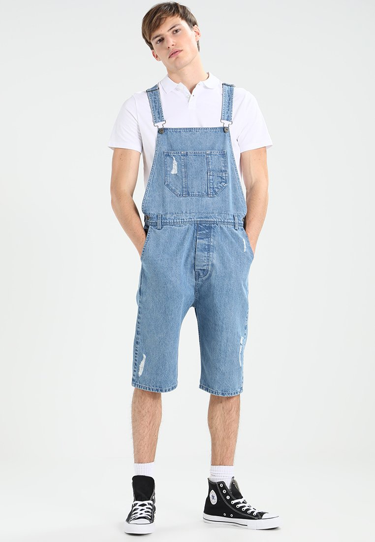 Urban Classics - DUNGAREE - Dungarees - bleached blue