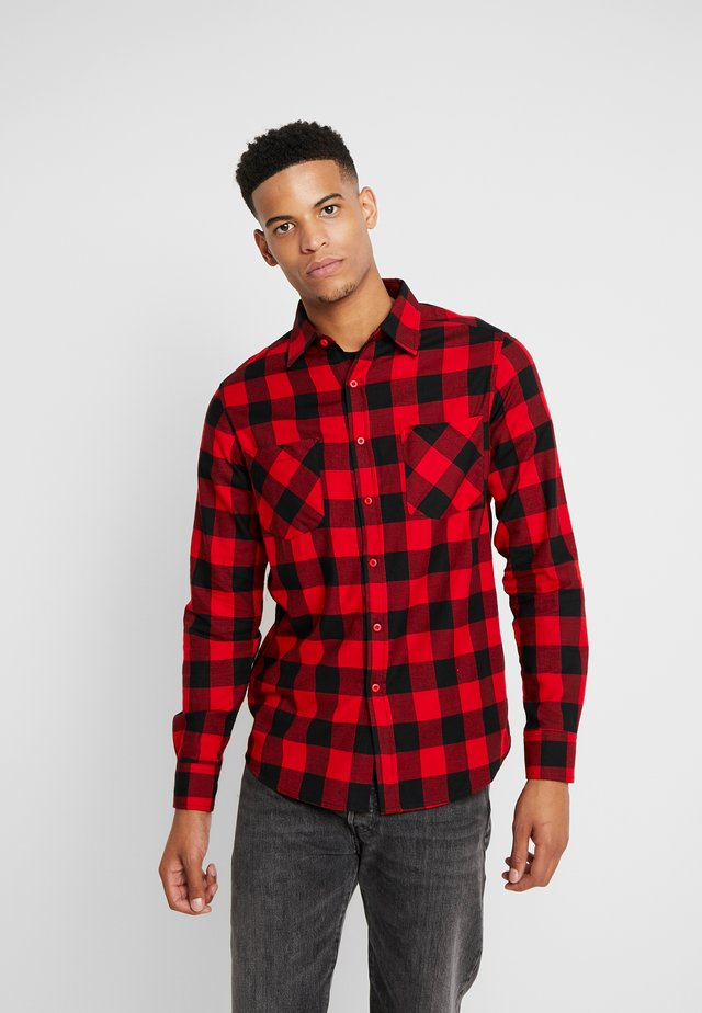 CHECKED SHIRT - Shirt - black/red